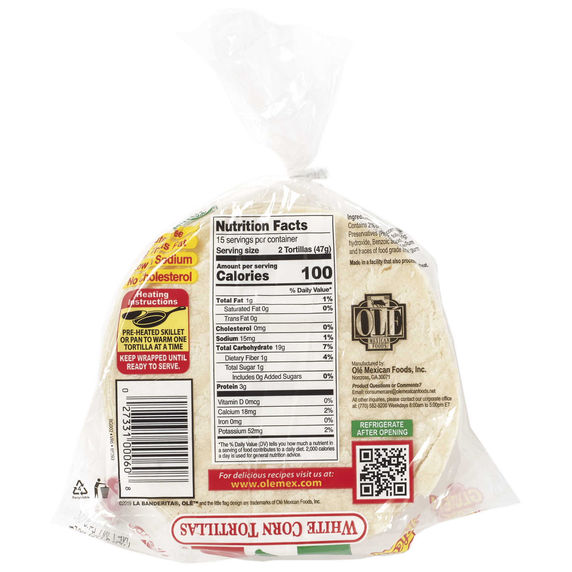 La Banderita White Corn 30ct - Back