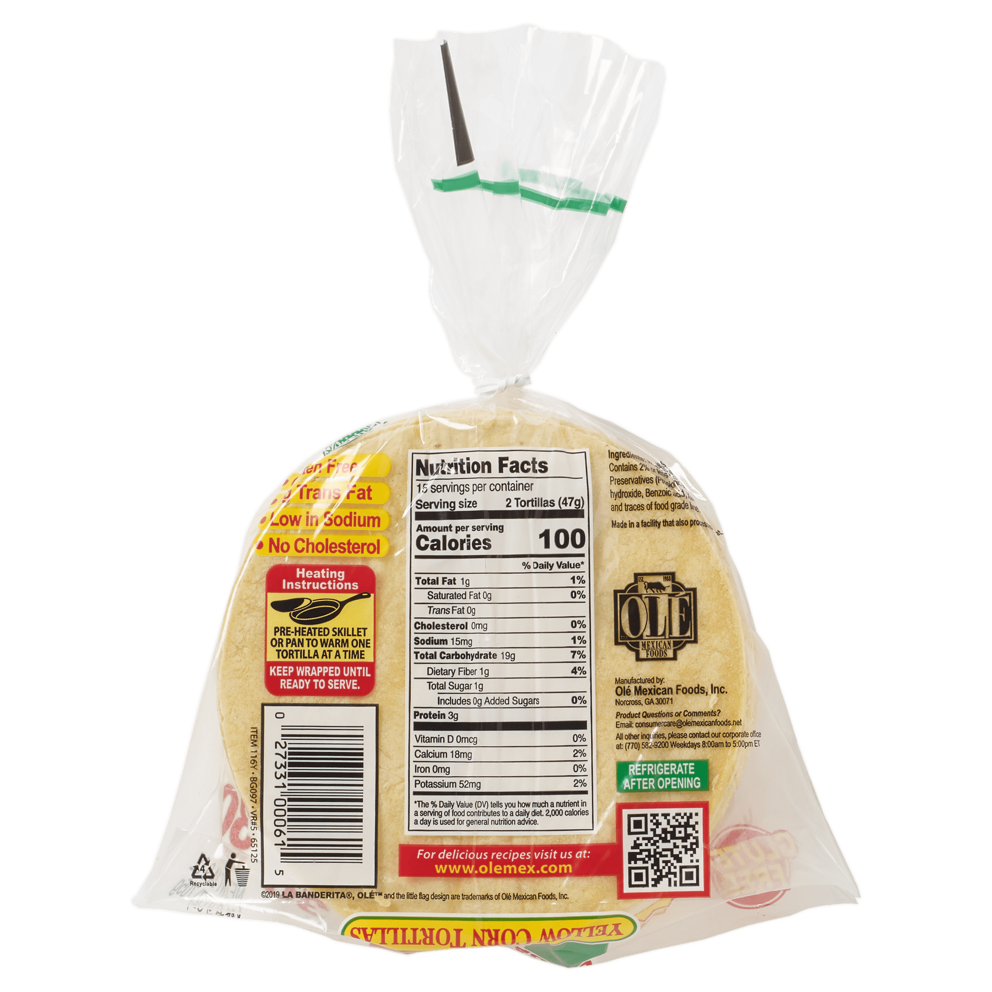 La Banderita Yellow Corn 30ct - Back